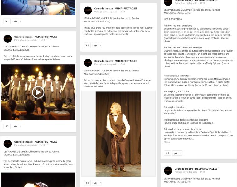 Extrait de la publication des Palmes de Mme Palm sur la page Google + de Mediaspectacles